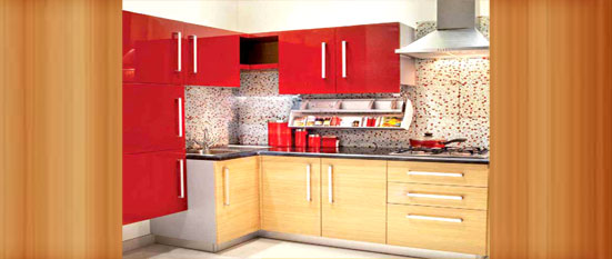 Red Wood Indian L Shaped Kitchen Hyderabad Interior Designers